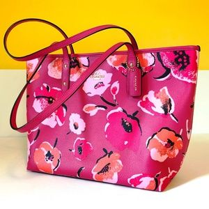 Coach Coated Canvas Pink Floral Tote